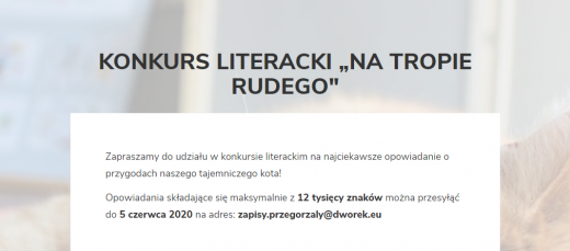 "Konkurs literacki ""Na tropie Rudego"""